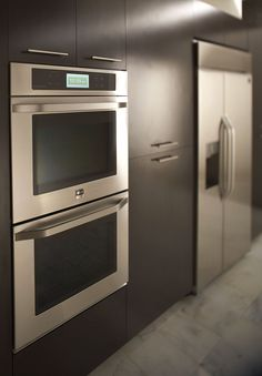 Sleek wall ovens with touch-screen controls by LG Studio.