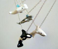 Nautical Jewelry Whale Necklace PICK 2 Beluga Whale Orca Shark Blue Whale. $34.95, via Etsy. i love it