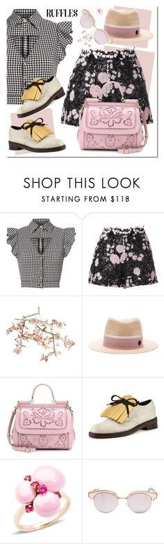 """""""Ruffles Top"""" by nantucketteabook ❤ liked on Polyvore featuring Marissa Webb, Giambattista Valli, Canopy Designs, Maison Michel, Dolce&Gabbana, Marni, Pomellato, Le Specs, trend and top"""