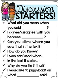 close reading discussion starters...great for primary students!
