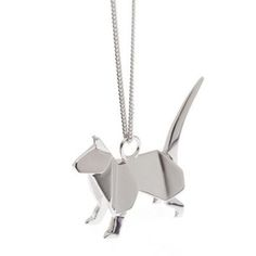 """French designers Claire & Arnaud created a lovely line of origami-inspired jewelry, including this sweet silver kitty. Available from boticca.com."" via moderncat"