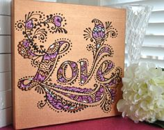 SALE on until Valentine's day! - LOVE - Henna Inspired - Original OOAK - 10x10 Canvas - Valentines Day - Gift - Girlfriend - WIfe