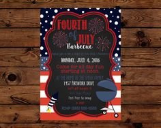 Fourth of July Barbecue Invitation by TeaTimePrintables on Etsy