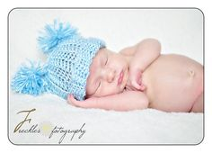 Newborn Hat: Baby Hat with Pom Poms Pastel Blue -0-3 months-Great Photography Prop. $8.99, via Etsy.