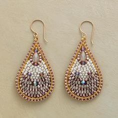 """THEA TEARDROP EARRINGS--Designed by Miguel Ases, handmade of glass, crystal and Japanese Miyuki beads in softly shimmering shades of pink, lavender and ivory. 14kt goldfilled wires. USA. 2-3/8""""L."""