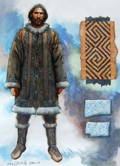 This image reconstruction shows the decorative textile belts, with patterns typical for the Mezin culture. The fabric is in contrast to other patches lightweight and does not burden the wearer too much. Even though the first archaeological evidences about the textile in Gravettian come from the turn of the 20th and 21th century, they have most probably always been the sociobiologic equipment of the modern human.