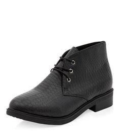 Wide Fit Black Snakeskin Desert Boots