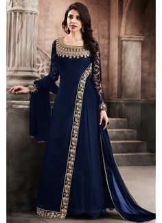 Blue and Gold Embroidered Georgette Anarkali