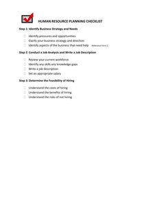 Form 1_Human Resource Planning Checklist  Employee Training Contract Sample