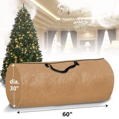 Made of 100% environmental 105g/m2 polyethylene ; Heavy Duty Full Length Zipper. Holds up to a 9' tall Christmas tree Moisture resistant, keeps out dust and pests Folds flat when not in use Fits a 5' tree, will fit large trees up to 6' to 9' when broken into sections. Designed to protect your tree from damage, dust and moisture! Clean up after the holidays are a snap with the Large Christmas Tree Storage Bag. A must have after the holiday season, a Christmas tree bag will store your tree away ne Christmas Tree Bag, Christmas Tree Storage Bag, Tall Christmas Trees, Try It Free, Clean Up, 30, Bag Storage, Carry On, Beige