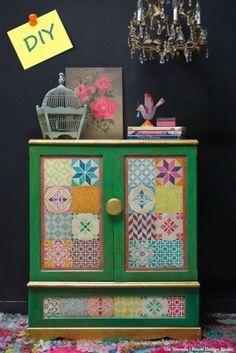 Decora tus muebles antiguos con plantillas para pintar paredes 1