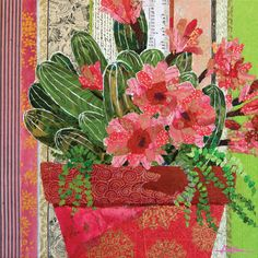 TheMoretheMerrierbig Paper Collage Art, Flower Collage, Collage Artists, Flower Art, Paper Art, Canvas Paper, Landscape Art Quilts, Collage Illustration, Encaustic Art