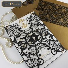 """Inspired by the Paris in the Roaring '20's, """"Vienna"""" is part of KatBlu's amazing new """"Twenty 13 Collection."""" This collection features amazing laser cut designs that are configured in four different price points, so you can have elegance no matter your budget! #lasercut #wedding #invitations"""