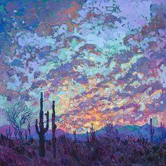 """The Erin Hanson Gallery (@erinhansonartist) on Instagram: """"""""Saguaro Dusk"""" by Erin Hanson"""""""