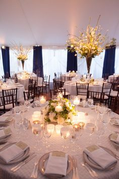 Tented Decatur House Wedding with Blooming Branches - Planning by A. Dominick Events, Flowers and Drape by Beehive Events, Linen from La Tavola and Photography by The Happy Couple