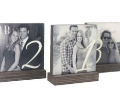 Table Number Frames ©Lone Star Accessories LLC    Personalized Wedding Table Numbers. Looks great on each of your wedding tables. We can do any amount you desire. These personalized table numbers can be stained either walnut,black, or left with no stain and a natural look.. Photos can be done in any color as well (black&white,color,or sepia). Each photo block is protected and sealed with a clear coat in order to maintain quality over the years.    Create your very own personalized photo f...