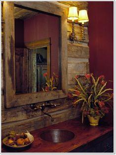 Eclectic Bathroom Rustic Design, Pictures, Remodel, Decor and Ideas Rustic Bathroom Designs, Eclectic Bathroom, Rustic Bathrooms, Cottage Bathrooms, Design Bathroom, Modern Bathroom, Red Bathrooms, Bathroom Interior, Primitive Bathrooms