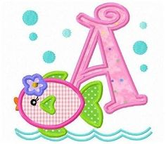 Girl Fish Applique Letters & Numbers - 4x4 | What's New | Machine Embroidery Designs | SWAKembroidery.com Fun Stitch
