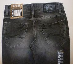 Mens AEROPOSTALE Rivington Slim Skinny Low Rise Gray Wash Jeans NWT #0501