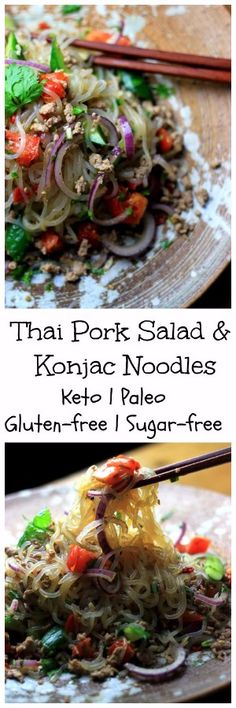 My PCOS Kitchen - Thai Pork Salad with Konjac Noodles - This refreshing cold salad is made with gluten-free and soy-free ingredients so you can be sure to get a nice keto paleo low carb dinner! via My PCOS Kitchen Healthy Gluten Free Recipes, Low Carb Recipes, Healthy Food, Pork Salad, Keto Friendly Desserts, Low Carb Lunch, Pork Recipes, Asian Recipes, Yummy Recipes