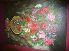 Flowers - Oil on Canvas .....used a knife to paint this one
