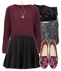 """Allison Inspired Outfit with a Skater Skirt and Floral Flats"" by veterization ❤ liked on Polyvore featuring H&M, Mossimo Supply Co., Topshop and Marc by Marc Jacobs"