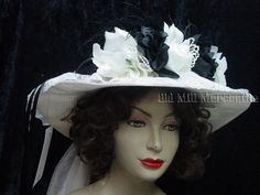 Downton Abbey Edwardian Victorian style Elsie Massey black and ivory Hat 1203 #ElsieMassey #Edwardian