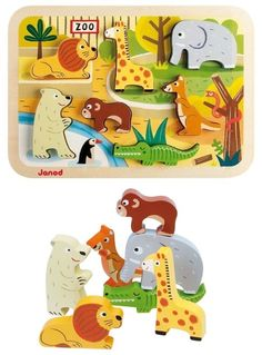 Putziges Holzpuzzle 'Zootiere' entdeckt bei myToys