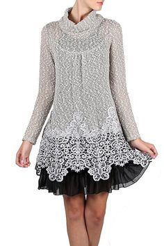 Gray Black Lace Turtleneck Dress
