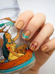 This reminded me how much I love everything Pocahontas when I was little. I need these nails.    nailstorming disney pocahontas nail art linry's review