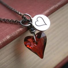Valentine necklace, Swarovski Crystal, oxidized sterling silver heart necklace