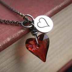 Valentine necklace, Swarovski Crystal, oxidized sterling silver heart necklace
