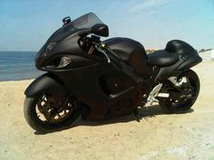 Stealth Black Suzuki Hayabusa. Hmmmmm truck and bike flat black????? Something to think about.