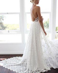 87b019b05501 Beach Style Wedding Dresses, Bohemian Beach Wedding Dress, Open Back Wedding  Dress, Wedding