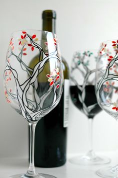 Black and White Trees with Autumn Leaves--Set of 2 Hand Painted Wine Glasses by Mary Elizabeth Arts