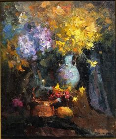"""Wang, Jove - """"Hydrangeas and Dusty Millers from the Artist's Garden"""" Oil Painting Flowers, Flower Paintings, Paintings I Love, Oil Paintings, Dusty Miller, Fashion Painting, Close Image, Famous Artists, Art Techniques"""