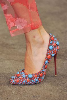 Christian Siriano Colorful Red & Turquoise - -- 35 High Fashion Heels On The Street - Style Estate - Via