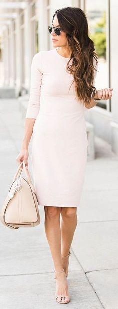 #summer #popular #outfitideas Long Sleeve Little Blush Dress