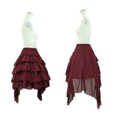 """Sheglit """"Chiffon asymmetry skirt (bordeaux)"""""""
