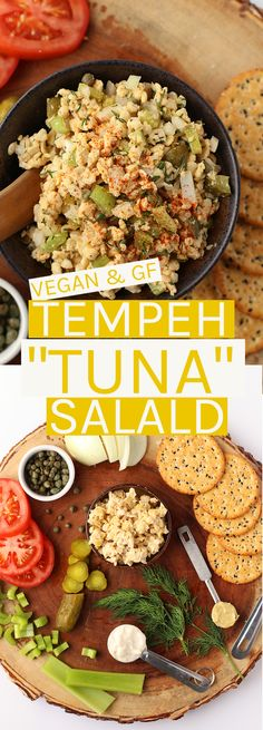 This vegan Tempeh Tuna Salad is filled with flavor and crunch in every bite for the perfect snack, side, or salad. #vegan #glutenfree #veganrecipes