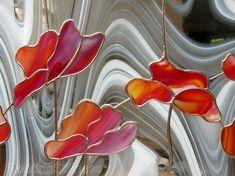 Tulipanes rojos mancharon Panel amapolas flores de vidrio