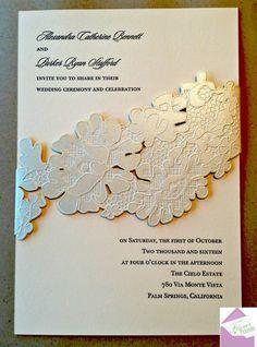 Super cute wedding invitations with a laser cut. Design by Monique Lhuillier #weddinginvitations