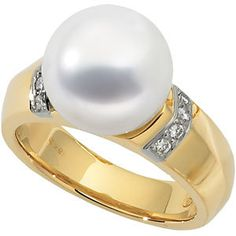 18kt Yellow 1/8 CTW Diamond Semi-Mount Ring for 11.5mm Pearl