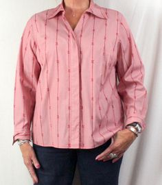 Nice Talbots Woman 14w size Blouse Pink Red Bows Womens Work Casual Top