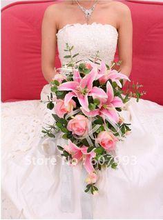 bruidsboeket lelies en rozen