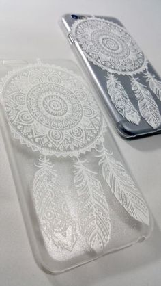 Featuring our fine henna collection! Snap-on hard plastic case with a unique henna design of a dreamcatcher in white!