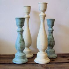 Shabby Cottage Chic Wooden Candlesticks - Rustic Chic Wood Candle Holders - White & Blue Farmhouse Spring Decor (Set of - 9 Rustic Candle Holders, Rustic Candles, Taper Candles, Candleholders, Luxury Candles, Chic Chalet, Chandeliers, Cottage Shabby Chic, Painted Candlesticks