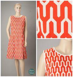 orange and white 1960s vintage mod dress from Brooke Cadwallader