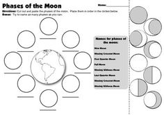 This is a simple cut and paste activity to assess students' understanding of the phases of the moon and the names of the phases.