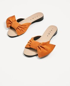 5081f6840da SPLIT SUEDE SLIDES WITH BOW - SHOES